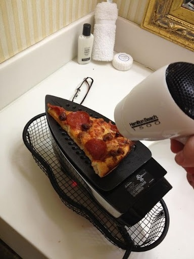 Pizza over iron