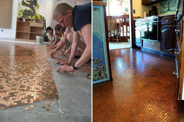 Copper Pennies Clear Resin Beautiful Floor Eric Fm Askeric Com